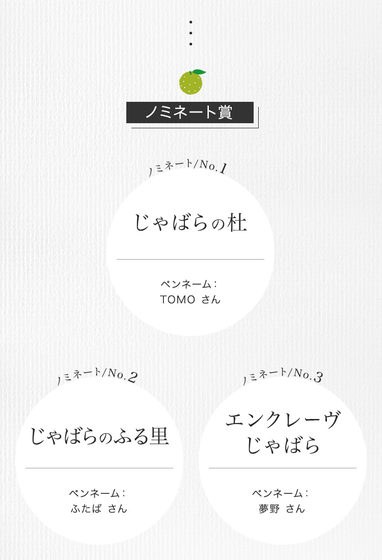 選考結果ノミネート賞1