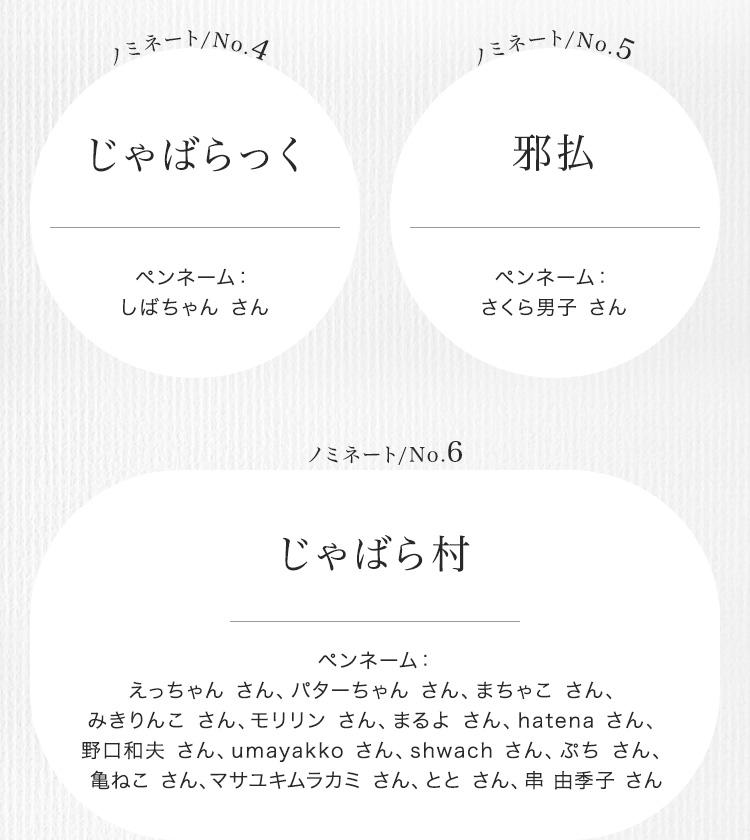 選考結果ノミネート賞2