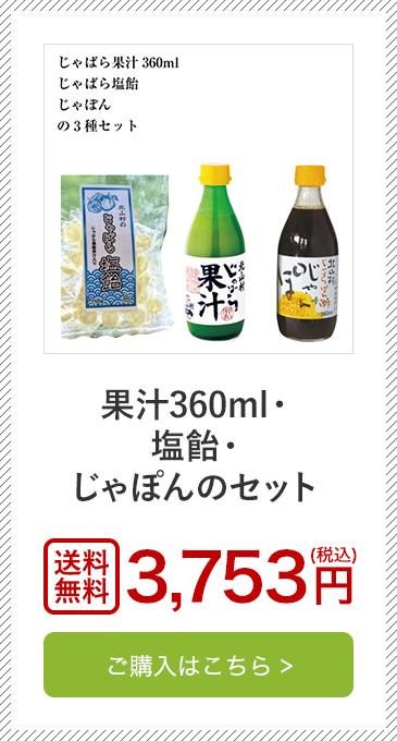 果汁360ml・塩飴・じゃぽんのセット